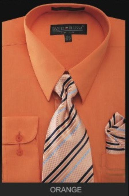 Men S Dress Shirt Premium Tie Orange