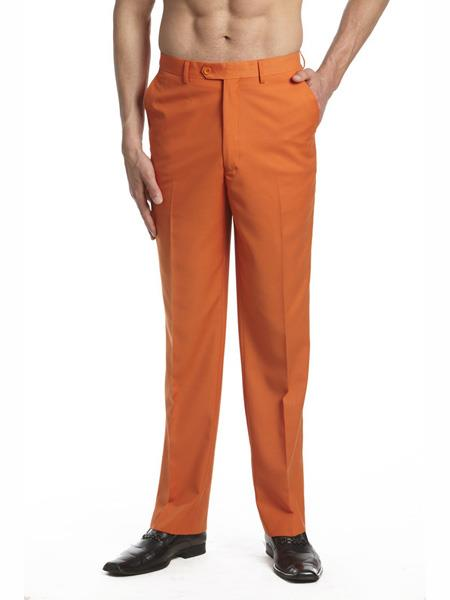 Men's Dress Pants Trousers Flat Front Slacks Orange
