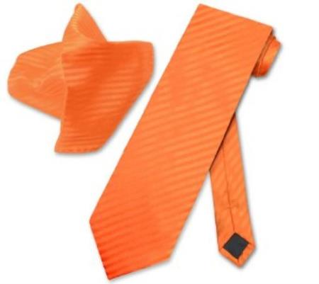 Buy TS5203 Orange Striped NeckTie & Handkerchief Matching Neck Tie Set