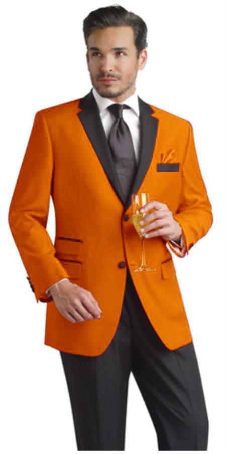 SKU#PLM71 Orange Two Button Notch Party Suit & Tuxedo & Blazer W/ Black Lapel + Pants