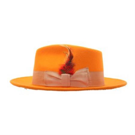 Orange Wool Fedora Hat