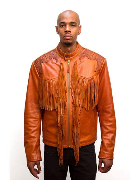 G-Gator Mens Orange Zip closure Leather Jacket with Fringes and World Best Alligator ~ Gator Skin Trimming