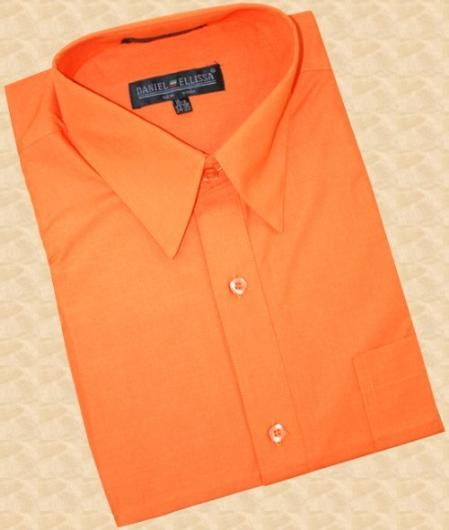 SKU#SK444 Orange Cotton Blend Dress Shirt With Convertible Cuffs