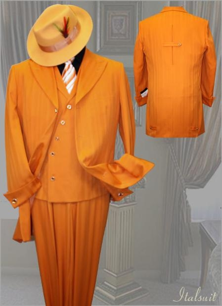 SKU#LJ588 Orange Mens Fashion Tone on Tone Pattern Suit 3PC With Vest & Wide Leg Pants $279