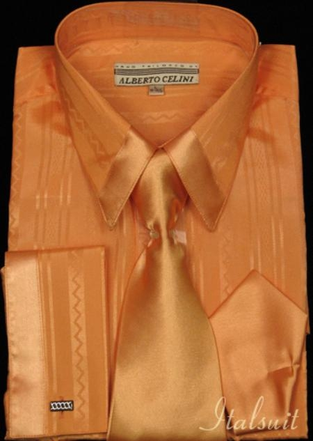 SKU#GH312 Orange Satin Shirt Tie and Hankie Set $79