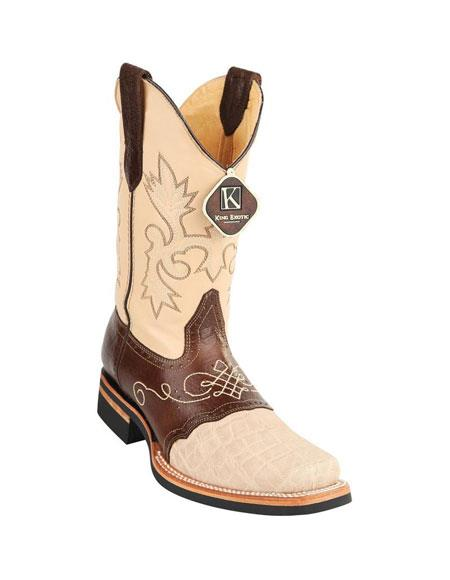 Mens King Exotic Cowboy Style By los altos botas For Sale Square Toe Genuine Elephant Skin Oryx Boots Handcrafted