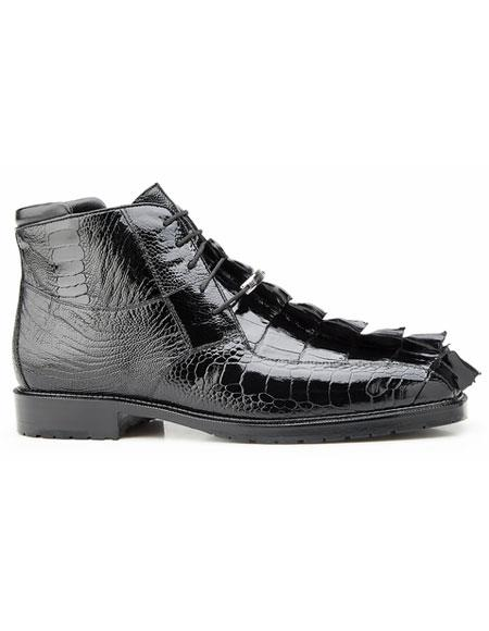 Barone Mens Black Genuine Hornback and Genuine Ostrich Lace Up Style Belvedere Boot
