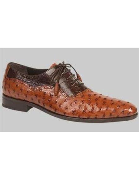 GD513 Men's Ostrich Brandy Bumpy Laceups Handmade Shoes Authentic Mezlan Brand