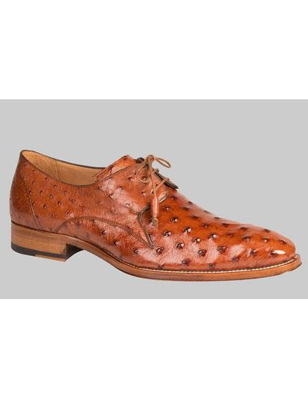 Buy AP445 Mens Brandy Genuine Ostrich Skin Lace Exotic Oxford Leather Shoes Authentic Mezlan Brand