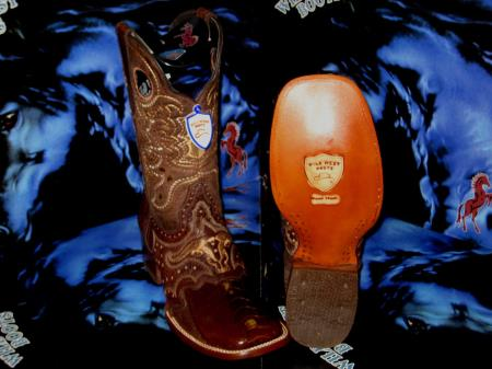 Buy Q-38F Wild West Genuine Ostrich Leg Square Brown Rodeo Western Cowboy Boot