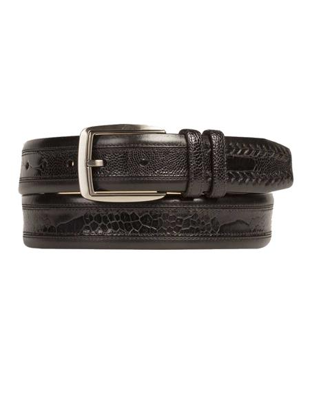 Mezlan Brand Mens Genuine Ostrich / Calfskin Brown / Rugger Skin Belt