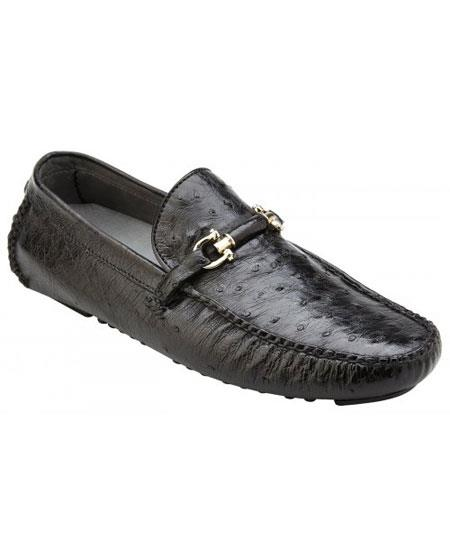 Mens Slip On Genuine Ostrich ~ Calfskin Black Leather Casual Sneakers