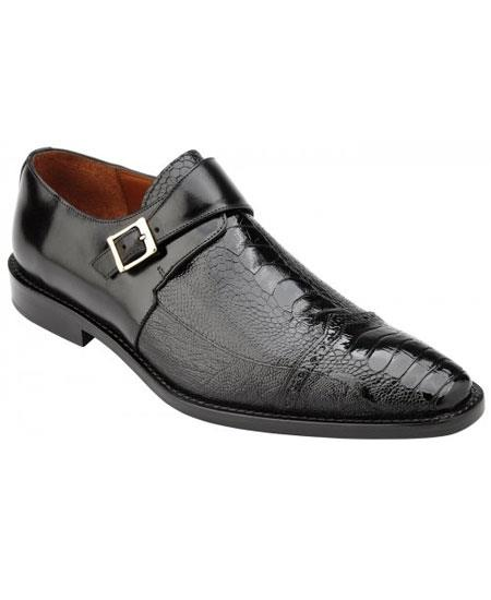 Mens Monk Strap Genuine Ostrich & Italian Calfskin Black Loafer Shoes