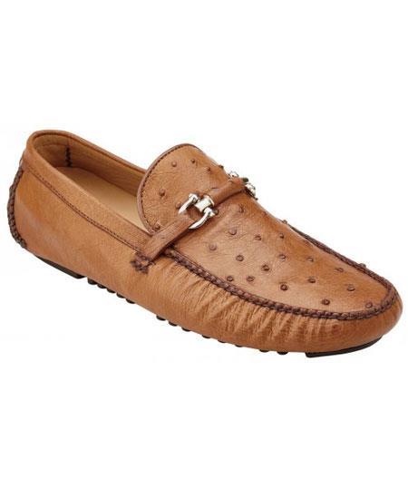 Men's Brandy Slip On Genuine Ostrich ~ Calfskin Casual Dress Sneaker