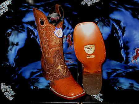 C-03Q Wild West Genuine Ostrich Square Cognac Rodeo Western Cowboy Boot