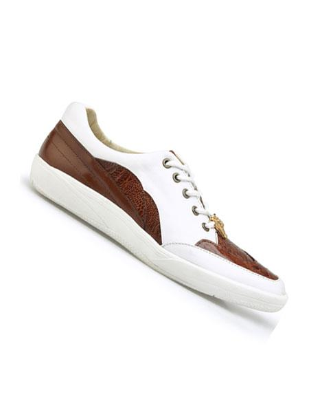 Mens Genuine Ostrich and Soft Calf Lace Up Style Cognac/White Dress Oxford  Perfect for Men belvedere Tennis Sneaker Shoes