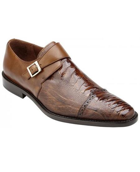 Mens Monk Strap Antique Almond Genuine Ostrich & Italian Calfskin Stylish Dress Shoe- Mens Buckle Dress Shoes