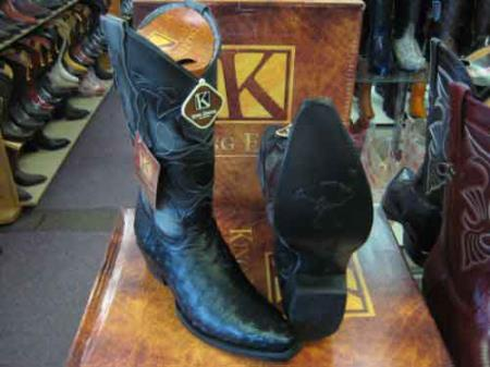 King Exotic Genuine Ostrich Snip Toe Leather Piping Western Cowboy Boot EE+ Black