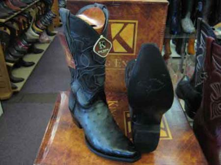Buy SM183 King Exotic Genuine Ostrich Skin Snip Toe Leather Piping Western Cowboy Boot EE+ Gray