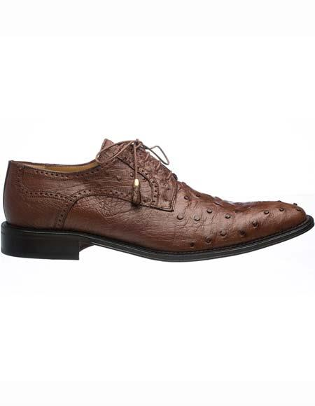Ferrini Men's Kango Genuine Ostrich Quill Tasseled Lace Up Leather Sole Shoes Mens Ostrich Skin Shoes