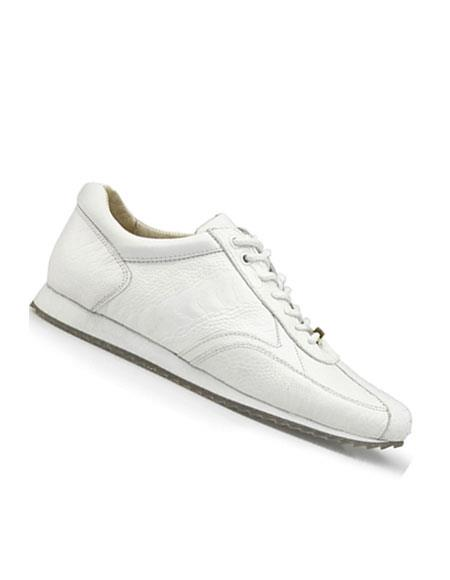 Mens Genuine Ostrich White Lace Up Style Dress Oxford Perfect for Men belvedere Tennis Sneaker Shoes