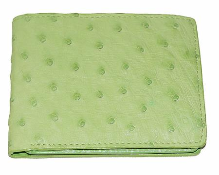 Men's Genuine Exotic Animal Skin Wallet ~ billetera ~ CARTERAS Ostrich Wallet Light lime mint
