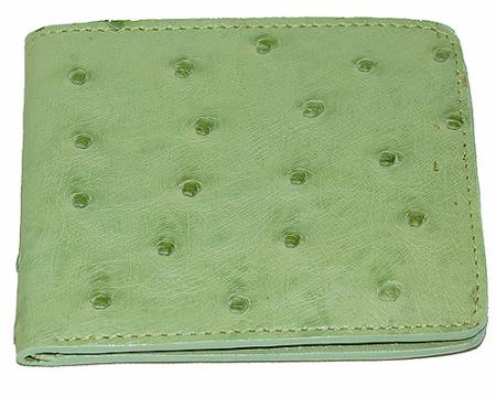 Mens Genuine Exotic Animal Skin Wallet ~ billetera ~ CARTERAS Ostrich Wallet Mint Green