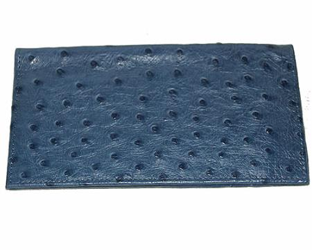 Mens Genuine Exotic Animal Skin Wallet ~ billetera ~ CARTERAS Large Ostrich Wallet Navy