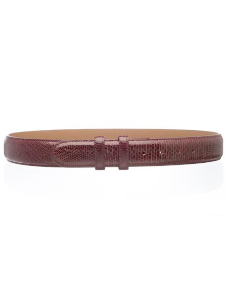 Men's Genuine Lizard Skin Belt Burgundy ~ Wine ~ Maroon Color 1 1/2'' width