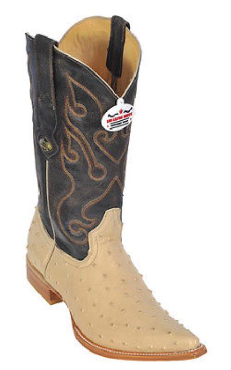 Ostrich Print Beige Los Altos Men Cowboy Boots Western Classic Rider