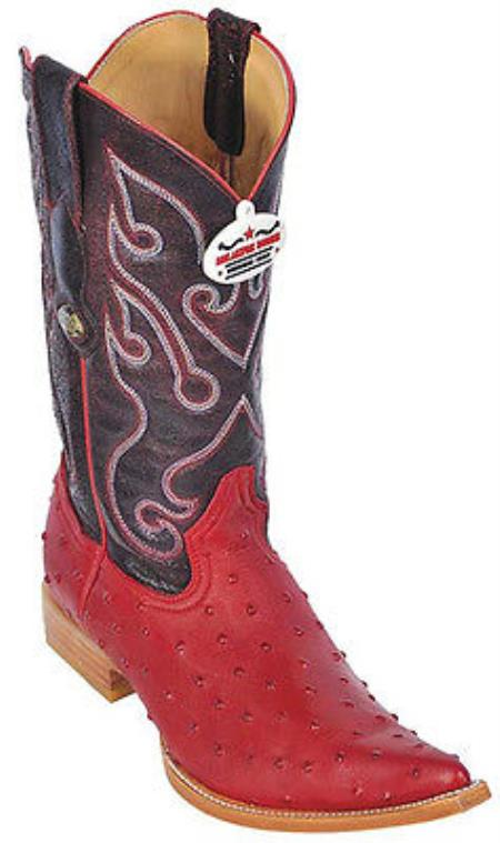 Buy KA8847 Ostrich Print Riding Red Los Altos Men's Western Boots Cowboy Classics