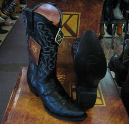 Buy MK961 Mens Genunie Ostrich King Exotic Snip Toe Western Cowboy Black Boot