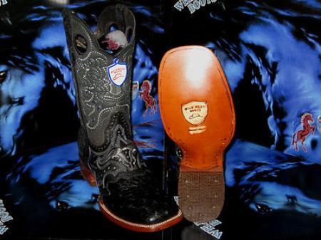 Buy ER6730 Wild West Genuine Ostrich Square Black Rodeo Western Cowboy Boot