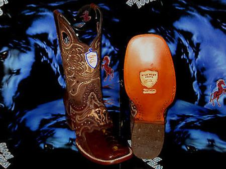 Buy G-02V Wild West Genuine Ostrich Leg Square Brown Rodeo Western Cowboy Boot