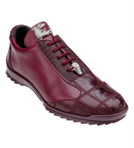 Burgundy ~ Wine ~ Maroon Color Ostrich Skin Casual Exotic belvedere Tennis Sneaker Shoes