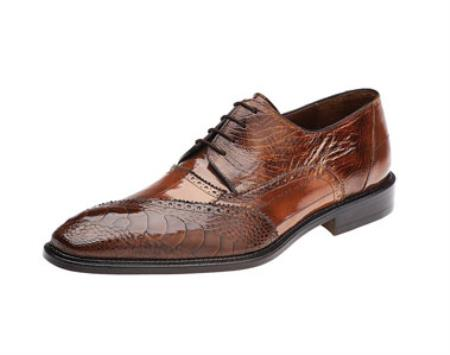 Authentic Genuine Skin Italian Nino Camel Ostrich Eel Brogue Shoes