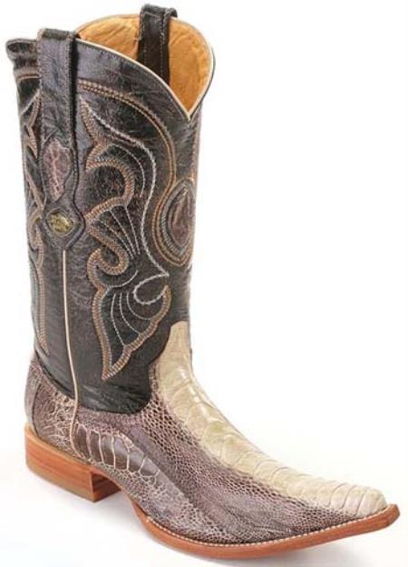 a241e310334 KA1007 Ostrich Print Cream ~ Ivory ~ White Los Altos Men's Cowboy ...