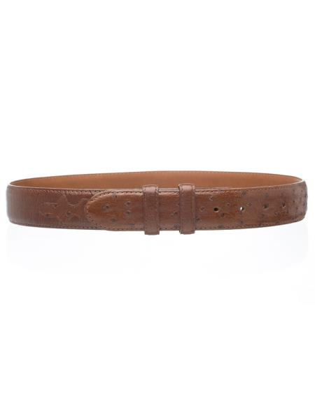 Mens Kango Smooth Genuine Ostrich Quill Skin Belt
