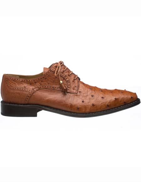 Buy SM2582 Ferrini Men's Genuine Ostrich Quill Leather Sole Brandy Tasseled Lace Shoes