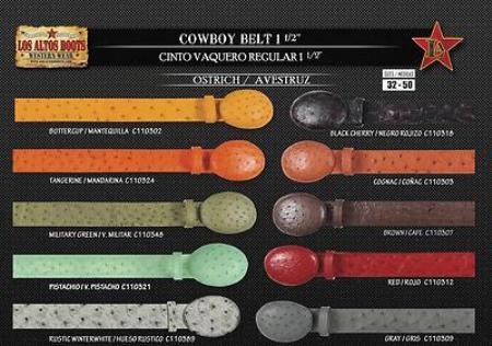 Mens Genuine Ostrich Cowboy Belt 1.5