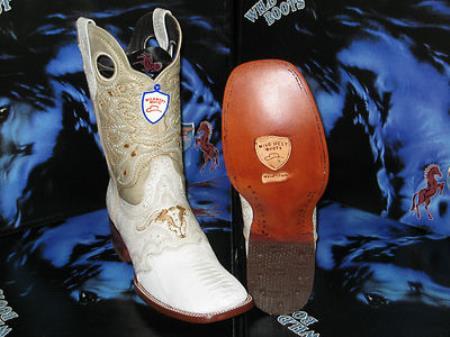 Buy DE5629 Wild West Genuine Ostrich Leg Square White Rodeo Western Cowboy Boot