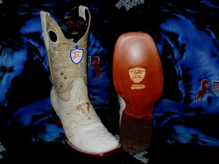 Buy ET6728 Wild West Genuine Ostrich Square White Rodeo Western Cowboy Boot