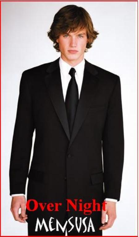 SKU# ECL607 Over Night Shipping Ultimate Quality One Button Tuxedo Solid Black Tuxedo 1 Buttons Super Fine Wool