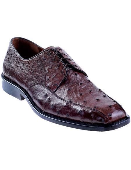 Men's Brown Genuine Ostrich Oxfords Style Los Altos Dress Shoes