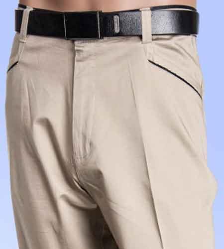 Men's Cotton Oyster Flat Front Pants  unhemmed unfinished bottom