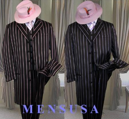 SKU# PTX721 BLACK- PINK STRIP 3PC WIDE PINSTRIP FASHION ZOOT SUIT. $179