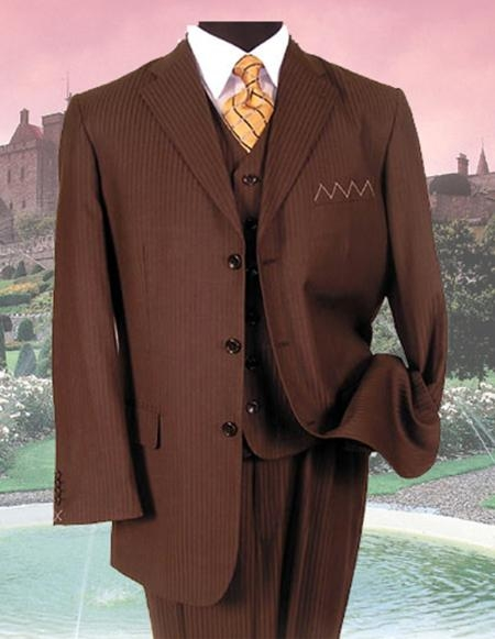 SKU: SKU36275 SM-08 BROWN PINSTRIPE three piece suit  $159
