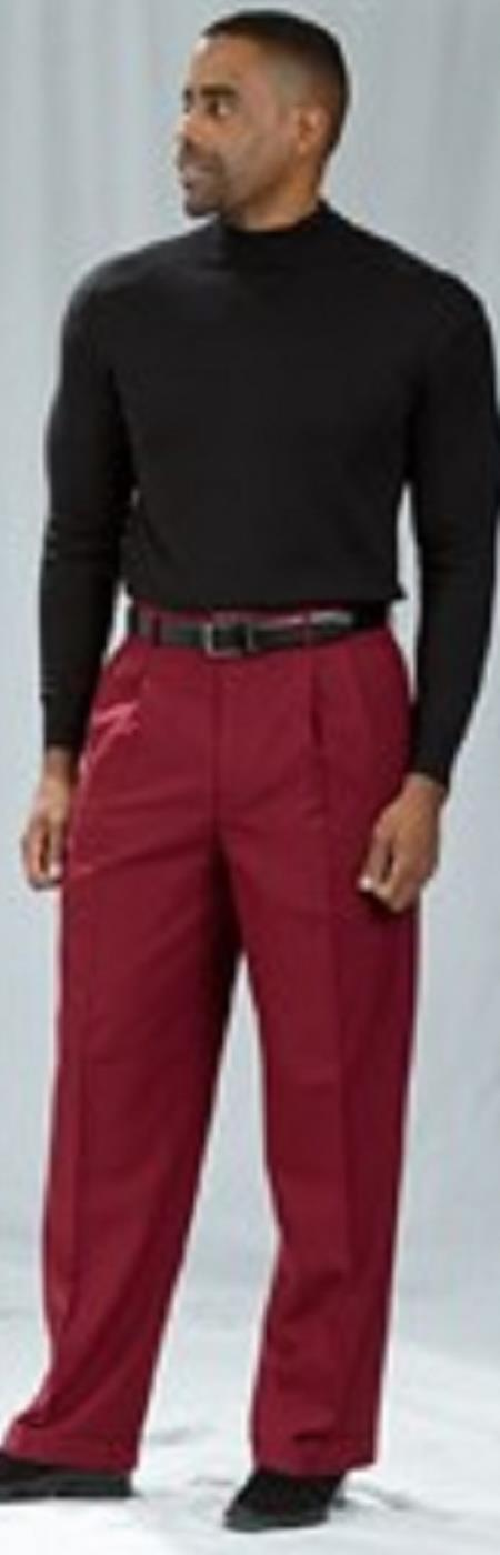 Pacelli Burgundy ~ Wine ~ Maroon Color Pleated Baggy Fit Dress Pants unhemmed unfinished bottom