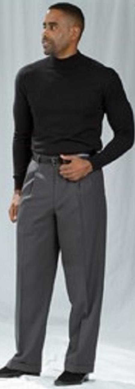 Pacelli Charcoal Pleated Baggy Fit Dress Pants Men's Wide Leg Trousers