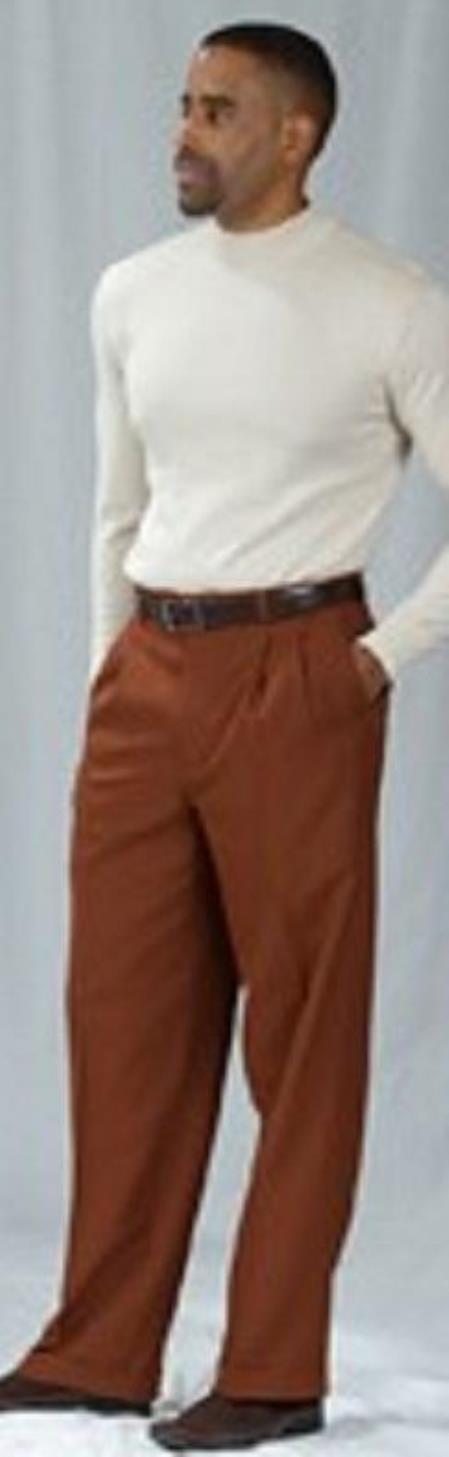 Pacelli Cognac Pleated Baggy Fit Dress Pants unhemmed unfinished bottom - Cheap Priced Dress Slacks For Men On Sale